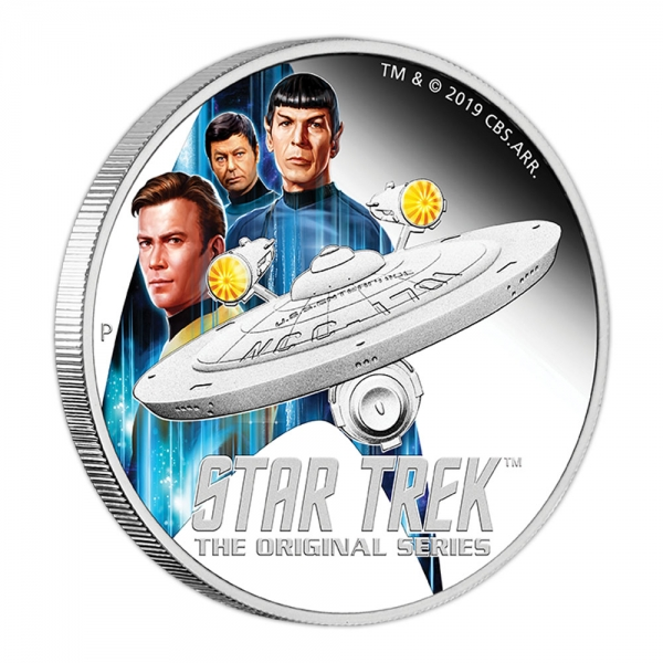 Star Trek USS Enterprise + Crew 2 Oz Silber Proof 2019 +Box +COA*