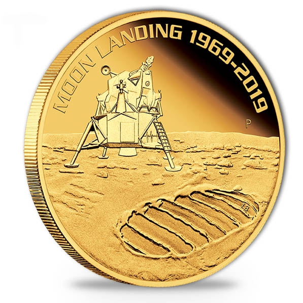 1 Oz Gold 50th Moon Landing High Releif 2019