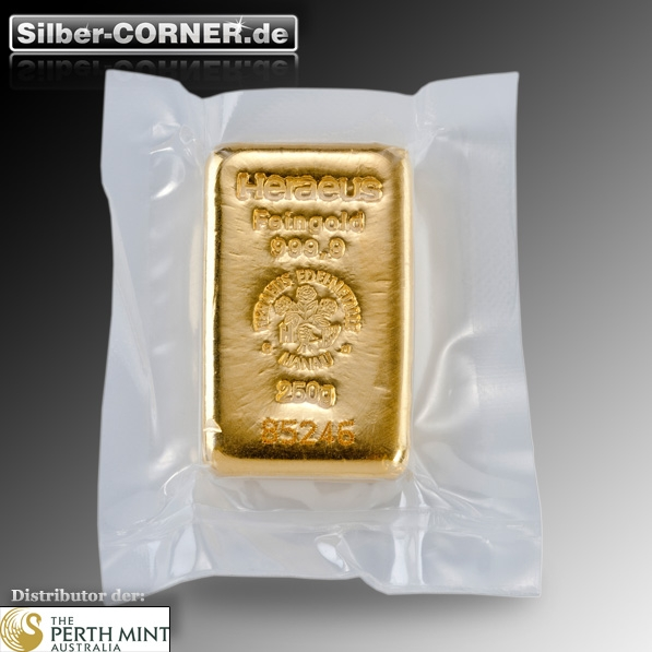 250 Gramm gegossener Goldbarren Heraeus