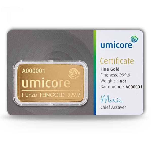 1 Oz Goldbarren Umicore