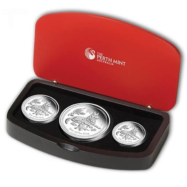 Lunar II - Hund - 3 Coin Set Silber Proof + Box +COA*