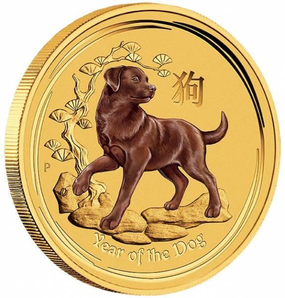 Lunar II - Hund - 1/10 Unze Gold farbig 2018