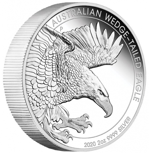 Wedge Tailed Eagle 2 Oz Silber Proof 2020 + Box +COA*