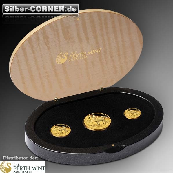 Lunar II Ziege Gold 3 Coin Set Proof + Box + CoA 2015