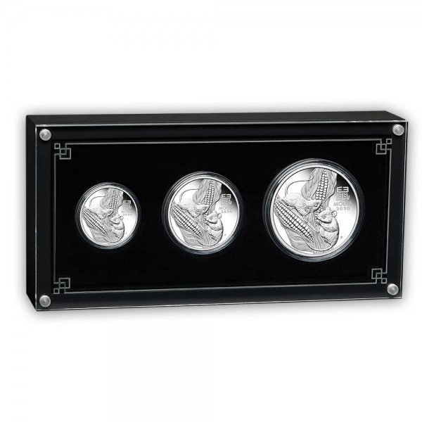 Lunar Maus 3 Three Coin Set Silber Proof 2020