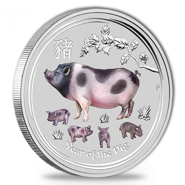Lunar II - Schwein - 2 Unzen Silber farbig *
