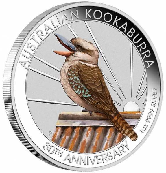 World Money Fair Kookaburra 1 Unze Silber farbig 2020 +Box +COA*