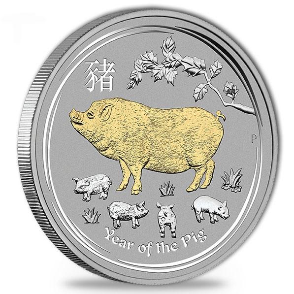 Lunar II - Schwein - 1 Oz Silber gilded + Zertifikat*