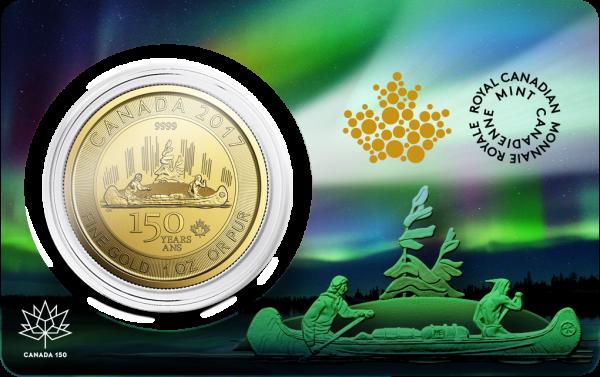 1 Oz Gold Voyageur 150 Jahre Kanada