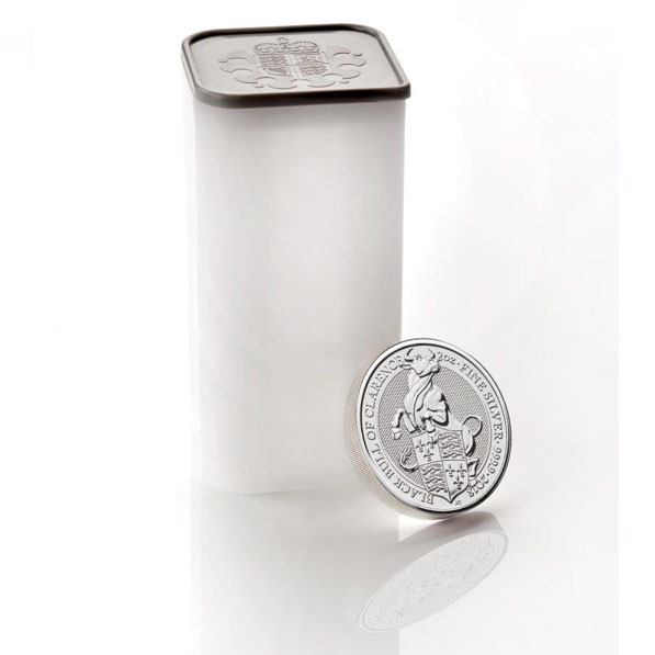 Original Royal Mint Tube - Queens Beasts 2 Oz Silber