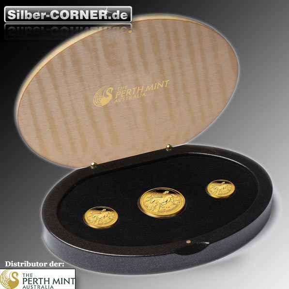 Lunar II Pferd 3 Coin Set Gold Proof + Box + CoA 2014