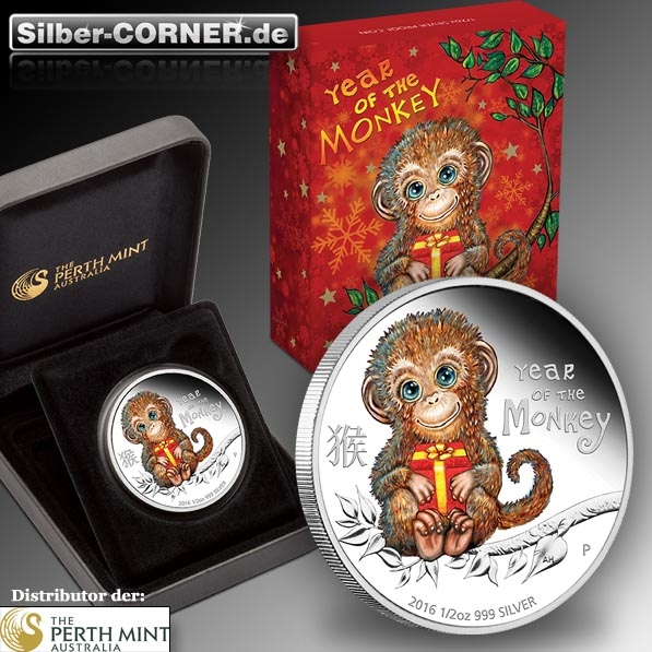 Baby Affe 1/2 Oz Silber rote Box