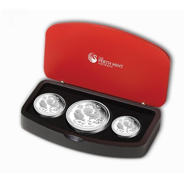 Lunar II - Hahn - 3 Coin Set Silber Proof +Box +COA*