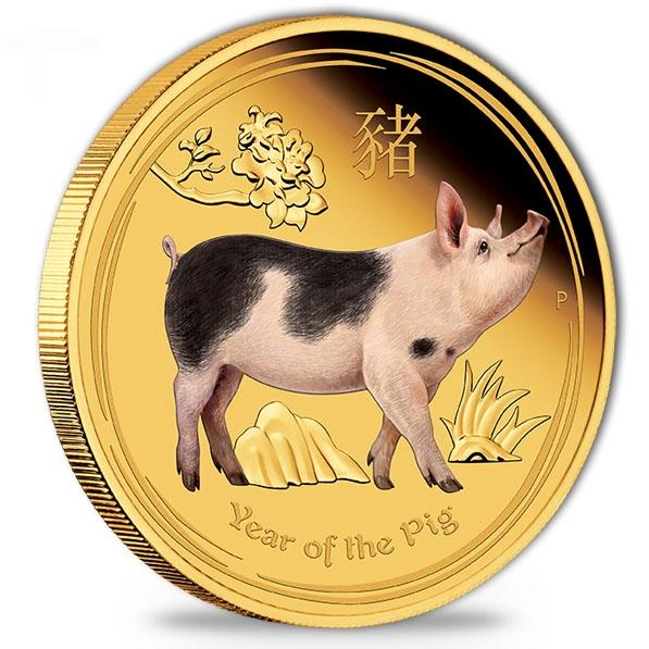Lunar II - Schwein - 1 Unze Gold Proof farbig +Box +COA
