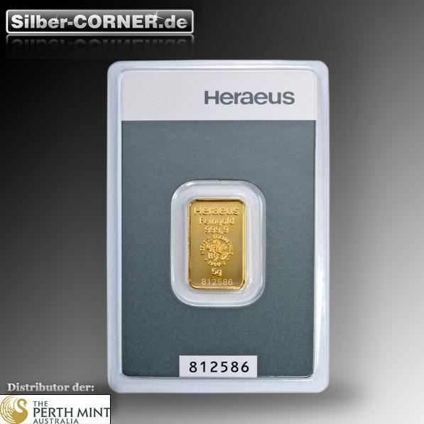 5 Gramm Heraeus Goldbarren