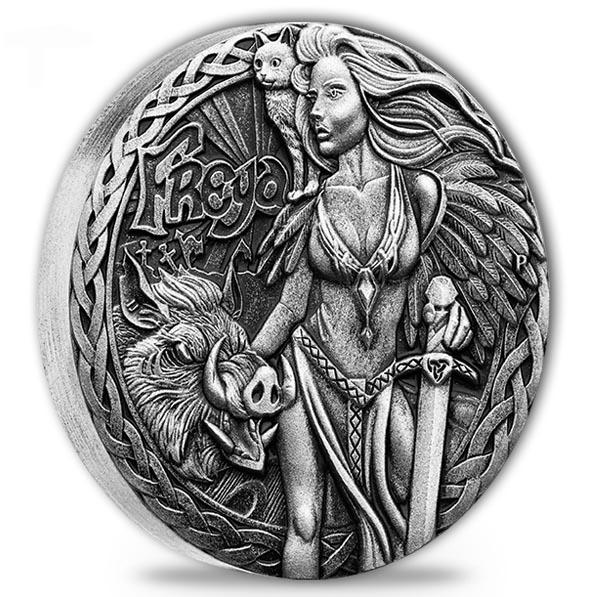 Nordische Göttinnen- Freya 2 Oz Silber Antik Finish*