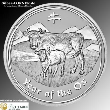 Lunar II Ochse 10 Oz Silber 2009 *