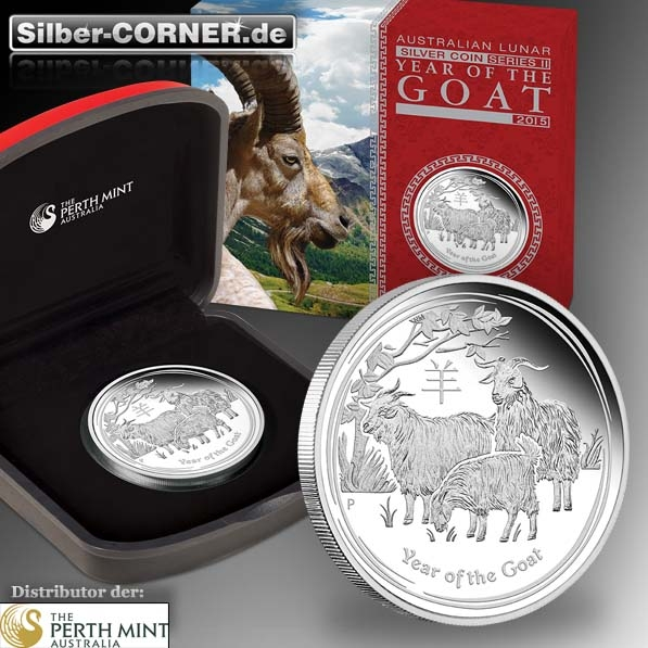 Lunar II Ziege 1/2 Oz Proof Silber Coin + Box + CoA 2015*